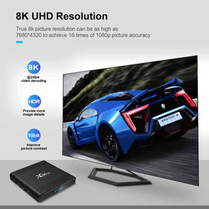 X96 Air Amlogic S905x3 8K Video Decode TV Box 4GB/32GB 2.4G+5.8G WiFi Bluetooth 100Mbps LAN USB3.0