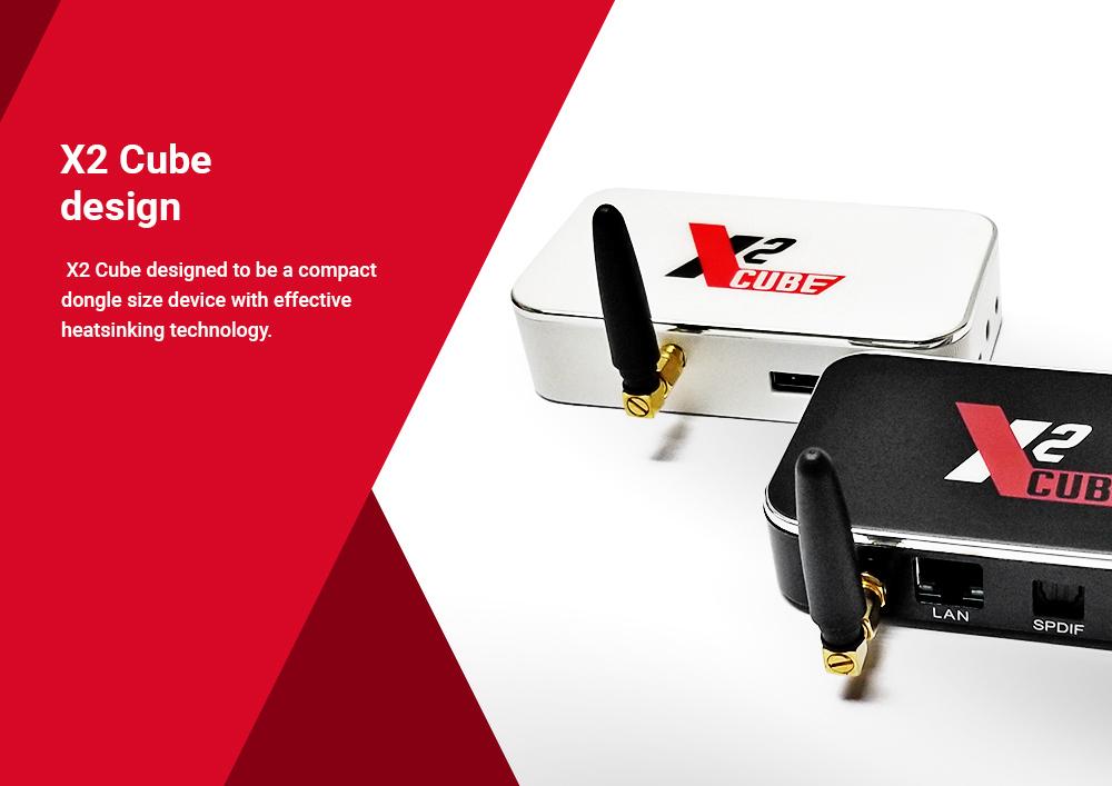 X2 CUBE Amlogic S905X2 Android TV 9.0 2G DDR4/16G eMMC TV Box 2.4G+5G WIFI 1000Mbps LAN USB3.0 -- Black