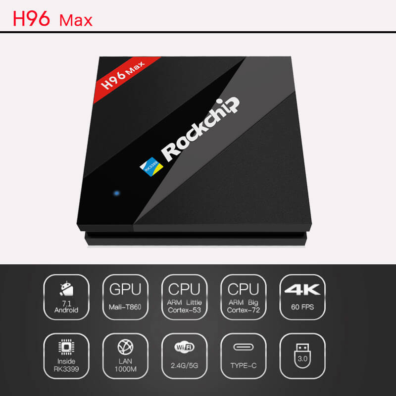 H96 MAX Rockchip RK3399 Hexa Core 64bit 4G/32G 4K TV BOX