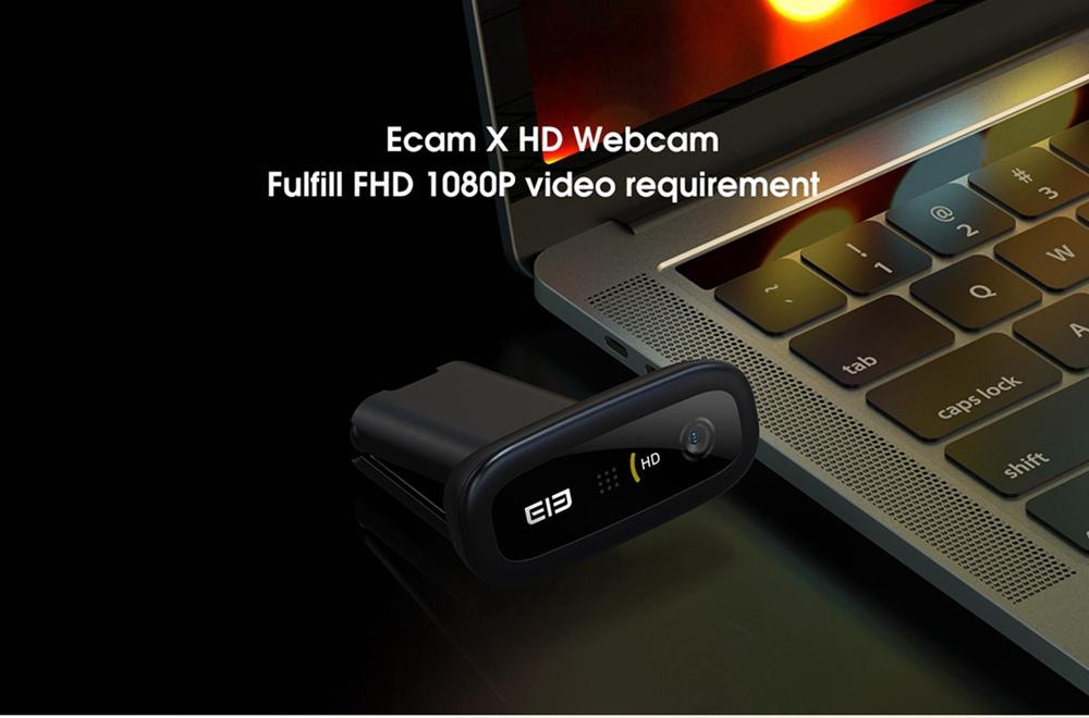 Elephone Ecam X 1080P HD Webcam 5.0 MegaPixels Auto Focus Micrófono incorporado para PC portátil - Negro