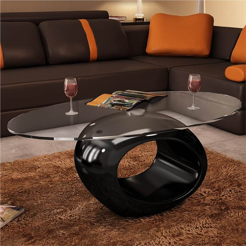 coffee table with oval glass top high gloss black