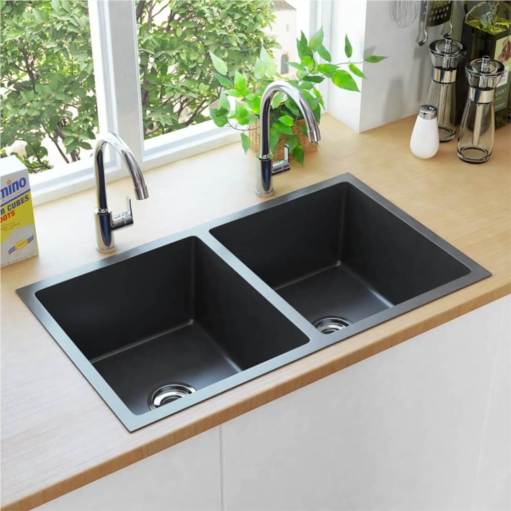 handmade kitchen sink with strainer black stainless steel