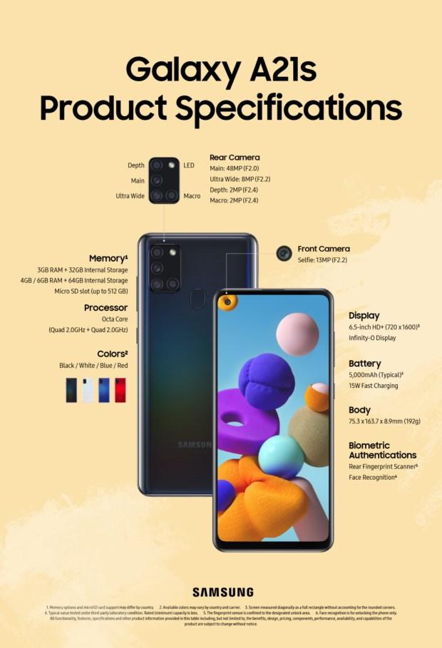 Nuevo Samsung Galaxy A21s con cámara de 48MP y batería de 5000mAh