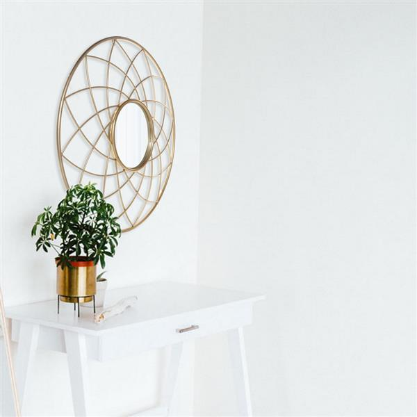 Artisasset Iron Wall Mirror High-Quality Flat Decorative Mirror for Bathroom Vanity Living Room Mantle or Entryway Golden[US-W]