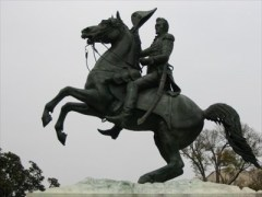 The pose of Andrew Jacksons horse would indicate that he died in battle.
