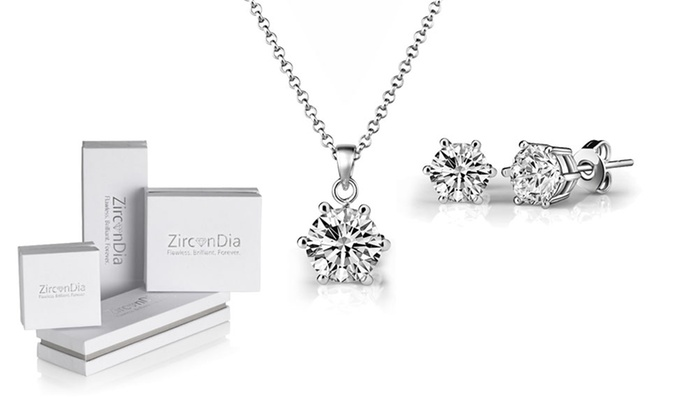 Solitaire Necklace + Earrings Set