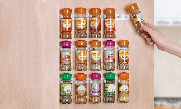 20 piece space saving sticky clip in spice rack set one 12 95 two 18 95 or three 22 95