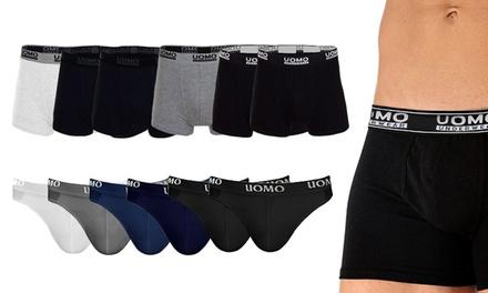 6 boxer o slip da uomo in cotone elasticizzato disponibili in 5 taglie