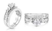 18-Karat White Gold and Cubic Zirconia Wedding Band Sets ...