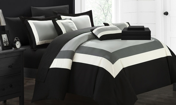 colorblock or reversible geometric pattern bed in a bag comforter sets 10 piece
