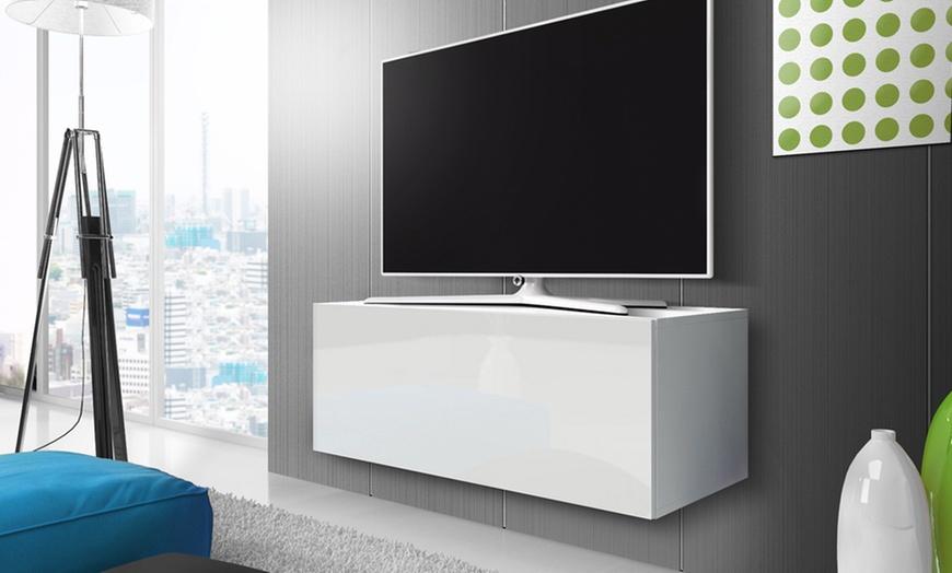 meuble tv mural moderne avec portes abattantes