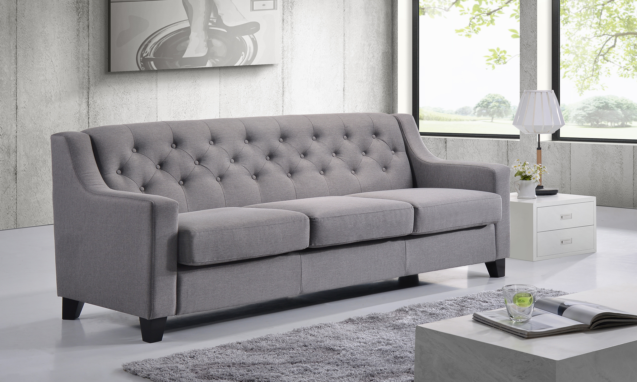 tomas fabric sofa chaise convertible bed dark java phoenix large recliner chocolate natuzzi 3 seater sofas arnotts find it at shopwiki arcadia upholstered tufted gray
