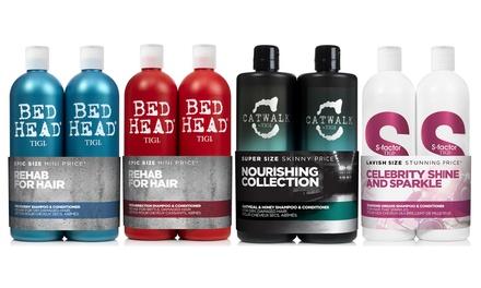1 o 2 set con Tigi shampoo e balsamo da 750ml disponibili in vari modelli