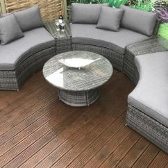 Rattan Half Moon Sofa Set Faux Leather 3 Seater Bed Fold Down Table Juliet Effect Garden Corner With Free