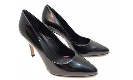 Scarpe con tacco alto 9 cm in pelle nera disponibile in varie misure