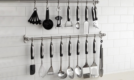 Vivo 25 Piece Kitchen Utensil Set with Optional Hanging Bar and Hooks