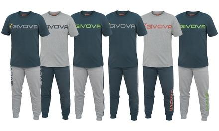 Completo homewear Givova per uomo composto da T shirt e pantaloni disponibili in 3 modelli e varie taglie