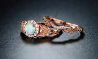 White Fire Opal Halo Engagement Ring Set in 18K Rose Gold ...
