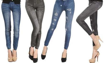Set 4 leggins di jeans a taglia unica