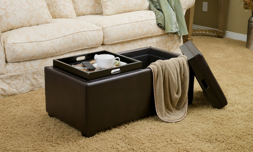 devonshire bonded leather tray top storage ottoman