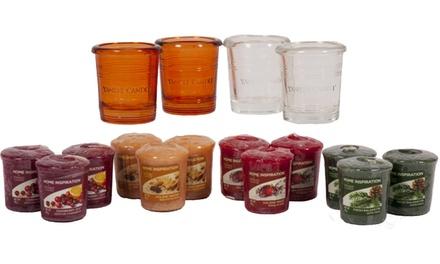 12 candele e 4 portacandele in vetro Yankee Candle profumi assortiti