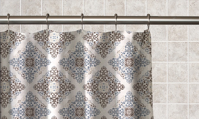 Moroccan Tile Printed Fabric Shower Curtain With Matching Roller
