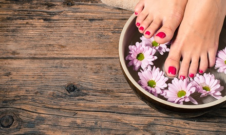 Classic or Gelish Mani Pedi with Optional Foot Spa at Mirrors Beauty Lounge