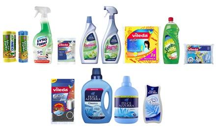 Kit pulizia casa con prodotti Vileda, Felce Azzurra, Svelto e Lysoform