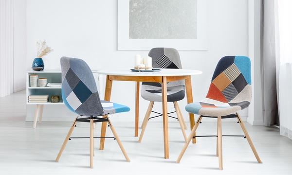 chaise scandinave motif patchwork