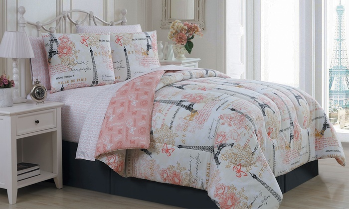 Paris Quilt Set 4 Or 5 Piece Or Bed In A Bag Set 6 Or 8 Piece Groupon