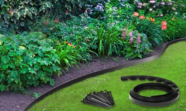 jusqu a 30m de bordure jardin flexible en plastique ancrage dans le sol inclus