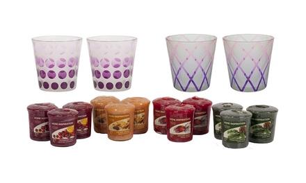 12 candele e 4 portacandele in vetro Yankee Candle con profumi assortiti