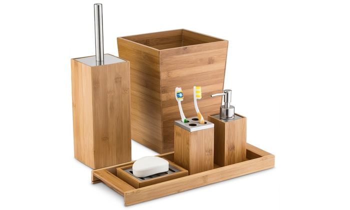 home basics natural-bamboo bathroom accessories | groupon