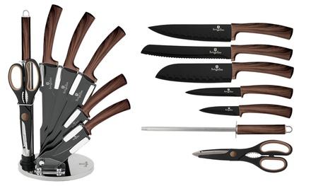 Set con 6 o 8 coltelli con ceppo girevole e scatola
