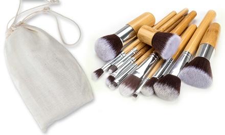 1 o 2 set di 10 pennelli professionali con manico in bambù naturale e custodia