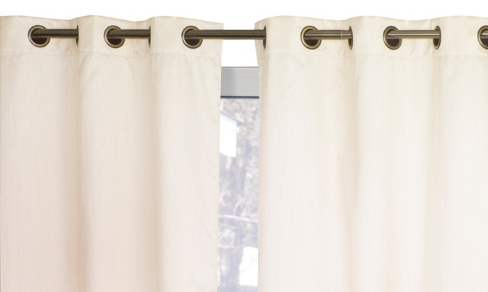 "Wexley Home 38""x84"" Foam Backed Room Darkening Curtains Groupon"