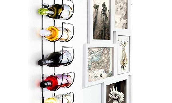 support mural 5 bouteilles de vin