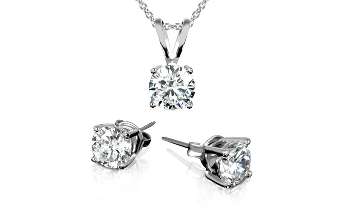 3.00 CTW Stud Earrings and Necklace made w/Swarovski