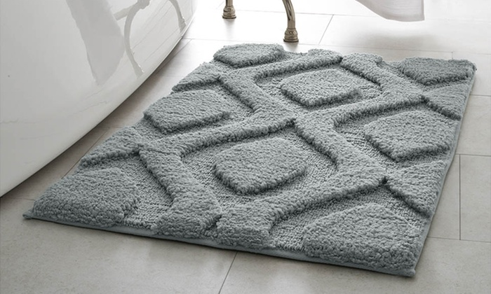 plush geometric mia bath rugs | groupon