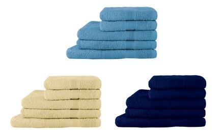 Set di 5 asciugamani in spugna disponibili in vari colori
