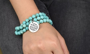 image for Multi-Wrap Turquoise Inspirational Bracelet/Necklace by Pink Box