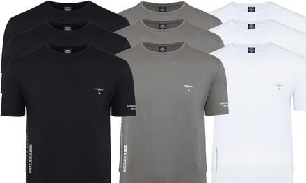 Set di 3 T shirt da uomo Aeronautica Militare con scollo a V o girocollo disponibili in vari modelli e colori