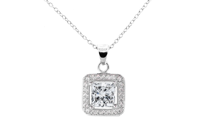 18K White Gold Plated Necklace with Swarovski Elements