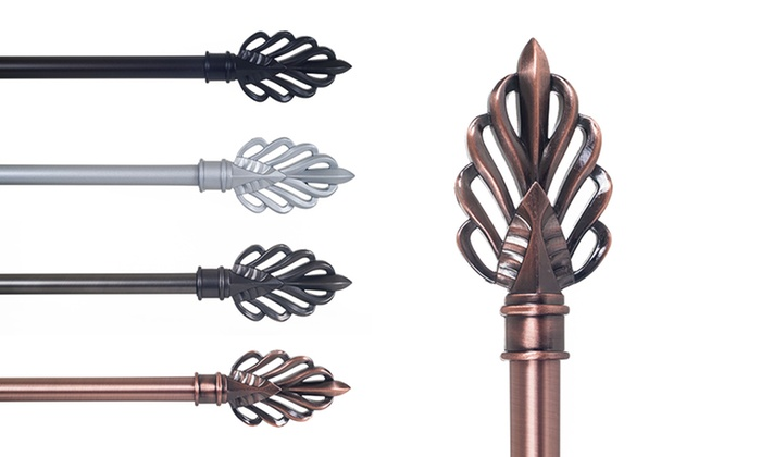 Leaf Finial Curtain Rod Set  Groupon