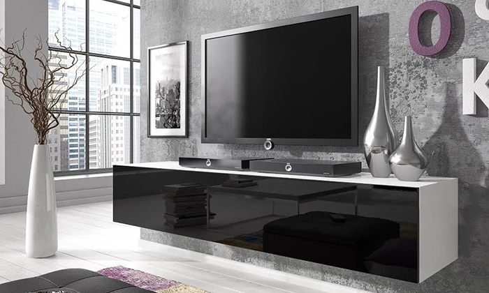 modern white living room furniture simple design pics floating gloss tv cabinet | groupon goods