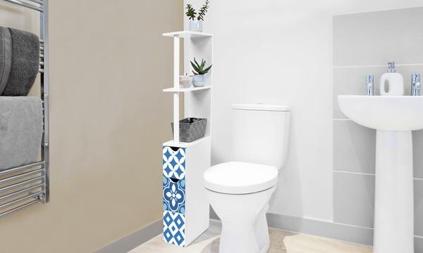 meuble wc motif carreaux de ciment hauteur 118 cm