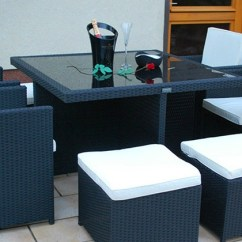 Home Goods Dining Chair Cushions Set Of Two Chairs 9-piece Cube Rattan Garden | Groupon
