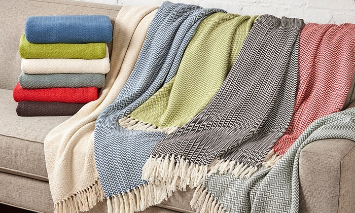 Wexley Home 100 Cotton Chevron Throws 2Pack  Groupon