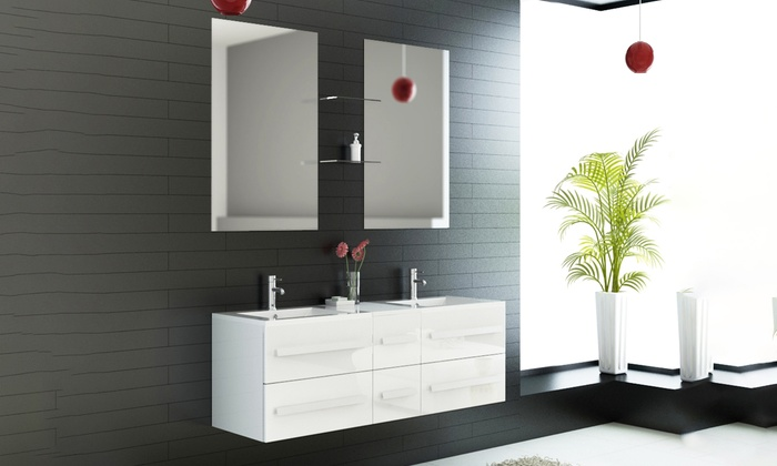 Ensemble De Meuble Salle De Bain Avec Double Vasque Et Miroir