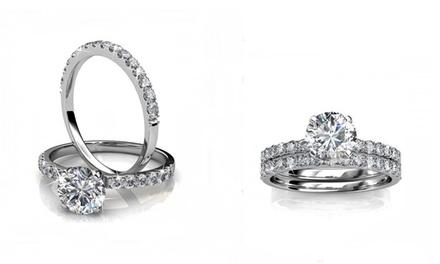 Doppio anello Eternity con cristalli Swarovski® disponibile in 3 taglie